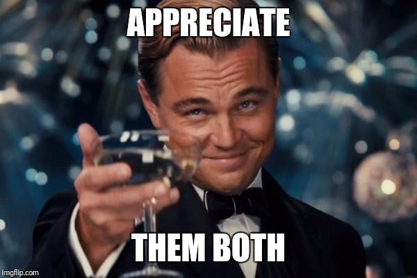Leonardo Dicaprio Cheers Meme | APPRECIATE THEM BOTH | image tagged in memes,leonardo dicaprio cheers | made w/ Imgflip meme maker