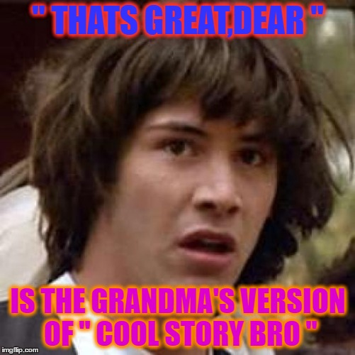 Conspiracy Keanu Meme | '' THATS GREAT,DEAR '' IS THE GRANDMA'S VERSION OF '' COOL STORY BRO '' | image tagged in memes,conspiracy keanu | made w/ Imgflip meme maker
