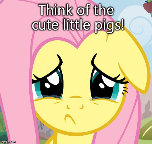sad fluttershy | Think of the cute little pigs! | image tagged in sad fluttershy | made w/ Imgflip meme maker