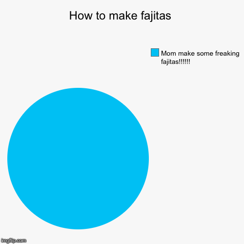 How to make fajitas | Mom make some freaking fajitas!!!!!! | image tagged in funny,pie charts | made w/ Imgflip pie chart maker