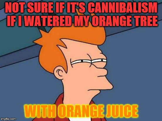 Futurama Fry Meme | NOT SURE IF IT'S CANNIBALISM IF I WATERED MY ORANGE TREE WITH ORANGE JUICE | image tagged in memes,futurama fry | made w/ Imgflip meme maker