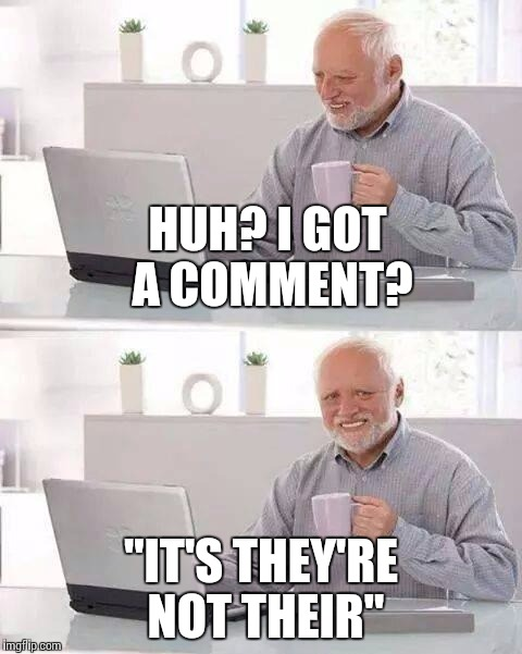 "Hide the Pain Harold Meme | HUH? I GOT A COMMENT? ""IT'S THEY'RE NOT THEIR"" 