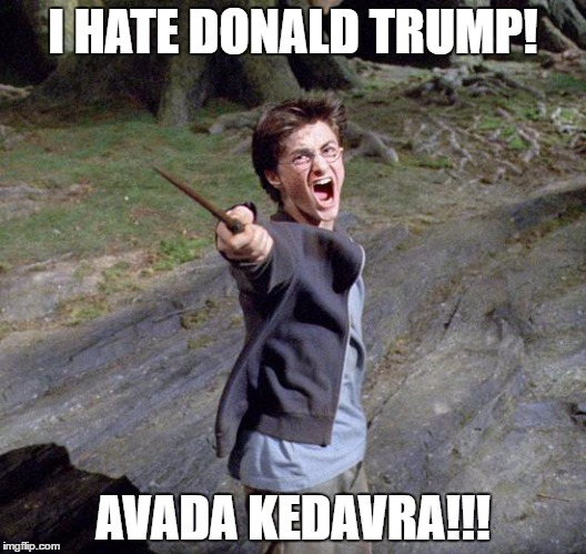 Harry potter | I HATE DONALD TRUMP! AVADA KEDAVRA!!! | image tagged in harry potter | made w/ Imgflip meme maker