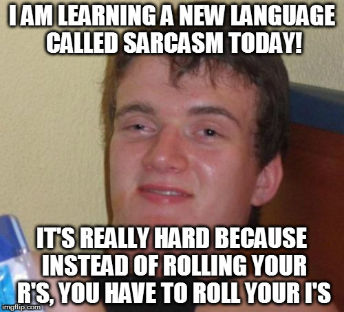 10 Guy Meme | I AM LEARNING A NEW LANGUAGE CALLED SARCASM TODAY! IT'S REALLY HARD BECAUSE INSTEAD OF ROLLING YOUR R'S, YOU HAVE TO ROLL YOUR I'S | image tagged in memes,10 guy,sarcasm,puns | made w/ Imgflip meme maker