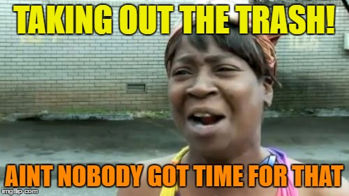 Aint Nobody Got Time For That Meme | TAKING OUT THE TRASH! AINT NOBODY GOT TIME FOR THAT | image tagged in memes,aint nobody got time for that | made w/ Imgflip meme maker