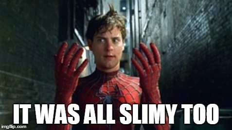 Spiderman - What Did I Touch? | IT WAS ALL SLIMY TOO | image tagged in spiderman - what did i touch | made w/ Imgflip meme maker