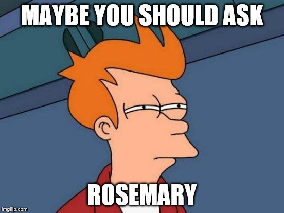 Futurama Fry Meme | MAYBE YOU SHOULD ASK ROSEMARY | image tagged in memes,futurama fry | made w/ Imgflip meme maker