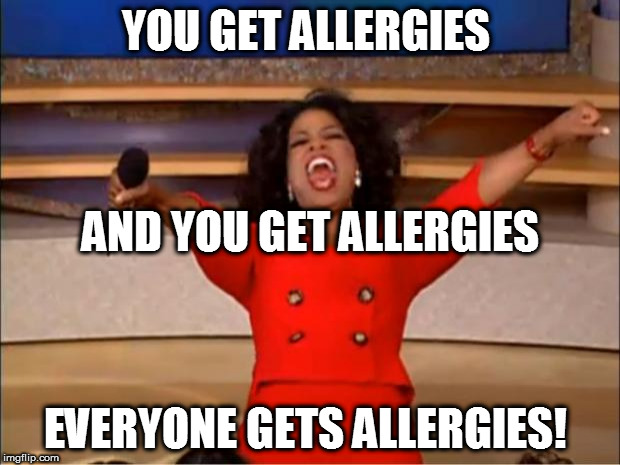 Oprah You Get A Meme | YOU GET ALLERGIES EVERYONE GETS ALLERGIES! AND YOU GET ALLERGIES | image tagged in memes,oprah you get a | made w/ Imgflip meme maker