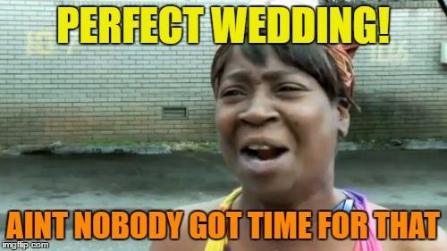 Aint Nobody Got Time For That Meme | PERFECT WEDDING! AINT NOBODY GOT TIME FOR THAT | image tagged in memes,aint nobody got time for that | made w/ Imgflip meme maker