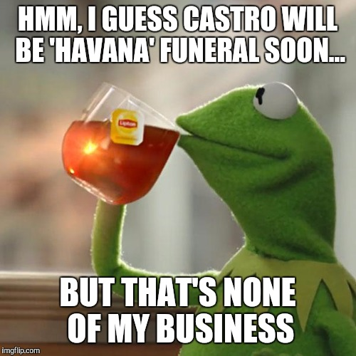 2016 is just the year of death isn't it? Sigh | HMM, I GUESS CASTRO WILL BE 'HAVANA' FUNERAL SOON... BUT THAT'S NONE OF MY BUSINESS | image tagged in memes,but thats none of my business,kermit the frog,fidel castro | made w/ Imgflip meme maker