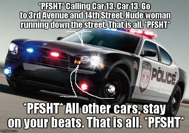 Sometimes, you've GOTTA be sure... | *PFSHT* Calling Car 13. Car 13. Go to 3rd Avenue and 14th Street. Nude woman running down the street. That is all. *PFSHT* *PFSHT* All other | image tagged in police car,memes,radios | made w/ Imgflip meme maker