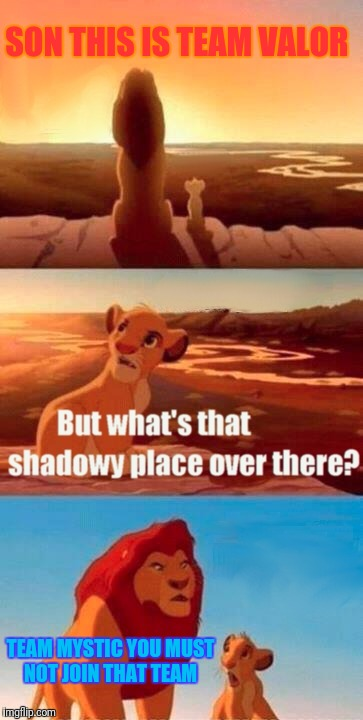 Pokemon Go Team Valor vs Mystic  | SON THIS IS TEAM VALOR TEAM MYSTIC YOU MUST NOT JOIN THAT TEAM | image tagged in memes,simba shadowy place,team valor,team mystic,pokemon go,funny | made w/ Imgflip meme maker