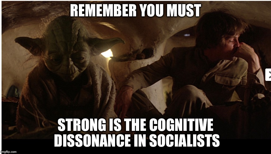 A Jedi craves not these things | REMEMBER YOU MUST STRONG IS THE COGNITIVE DISSONANCE IN SOCIALISTS | image tagged in a jedi craves not these things | made w/ Imgflip meme maker