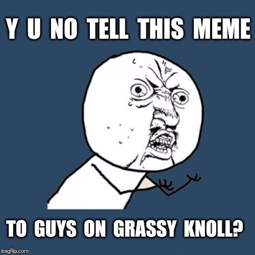 Y U No Meme | Y  U  NO  TELL  THIS  MEME TO  GUYS  ON  GRASSY  KNOLL? | image tagged in memes,y u no | made w/ Imgflip meme maker