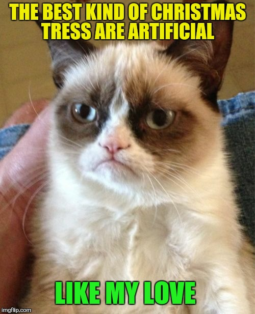 Grumpy Cat Meme | THE BEST KIND OF CHRISTMAS TRESS ARE ARTIFICIAL LIKE MY LOVE | image tagged in memes,grumpy cat | made w/ Imgflip meme maker