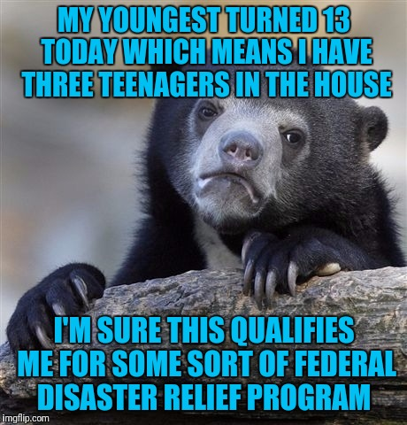 Confession Bear Meme | MY YOUNGEST TURNED 13 TODAY WHICH MEANS I HAVE THREE TEENAGERS IN THE HOUSE I'M SURE THIS QUALIFIES ME FOR SOME SORT OF FEDERAL DISASTER REL | image tagged in memes,confession bear | made w/ Imgflip meme maker