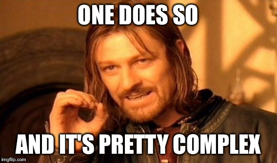 One Does Not Simply Meme | ONE DOES SO AND IT'S PRETTY COMPLEX | image tagged in memes,one does not simply | made w/ Imgflip meme maker