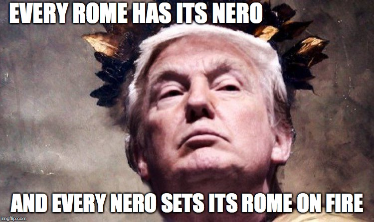 Trump Nero | EVERY ROME HAS ITS NERO AND EVERY NERO SETS ITS ROME ON FIRE | image tagged in trump nero,fire rome,donald trump,nero | made w/ Imgflip meme maker