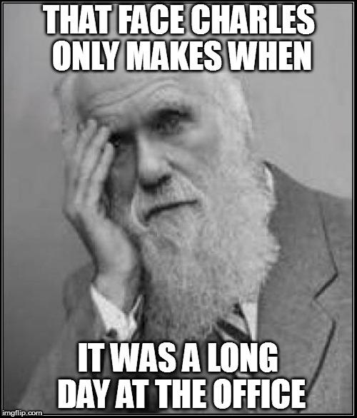 You don't Darwin one of his awards! | THAT FACE CHARLES ONLY MAKES WHEN IT WAS A LONG DAY AT THE OFFICE | image tagged in darwin facepalm,long day,funny,that face | made w/ Imgflip meme maker