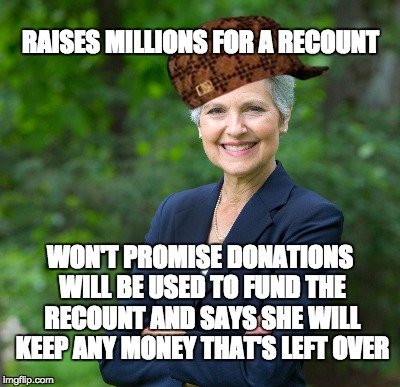 Said she has NO PROOF the original counts were inaccurate, won't promise to use the $ for a recount and will keep the excess $  | RAISES MILLIONS FOR A RECOUNT WON'T PROMISE DONATIONS WILL BE USED TO FUND THE RECOUNT AND SAYS SHE WILL KEEP ANY MONEY THAT'S LEFT OVER | image tagged in scumbag jill stein,jill stein | made w/ Imgflip meme maker