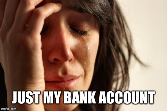 First World Problems Meme | JUST MY BANK ACCOUNT | image tagged in memes,first world problems | made w/ Imgflip meme maker