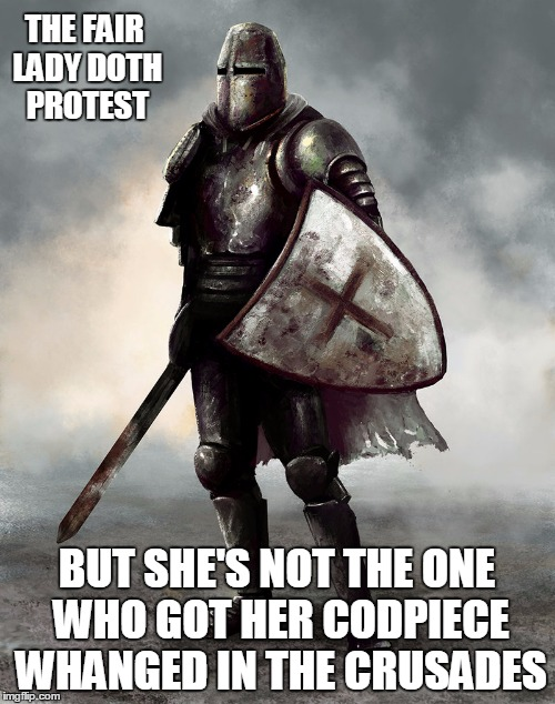 THE FAIR LADY DOTH PROTEST BUT SHE'S NOT THE ONE WHO GOT HER CODPIECE WHANGED IN THE CRUSADES | made w/ Imgflip meme maker