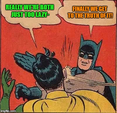 Batman Slapping Robin Meme | REALLY WE'RE BOTH JUST TOO LAZY- FINALLY WE GET TO THE TRUTH OF IT! | image tagged in memes,batman slapping robin | made w/ Imgflip meme maker