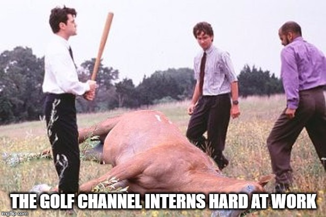 Golf Channel Interns Beating a Dead Horse | THE GOLF CHANNEL INTERNS HARD AT WORK | image tagged in beating a dead horse,tiger woods,pga,pga tour,golf,golf channel | made w/ Imgflip meme maker