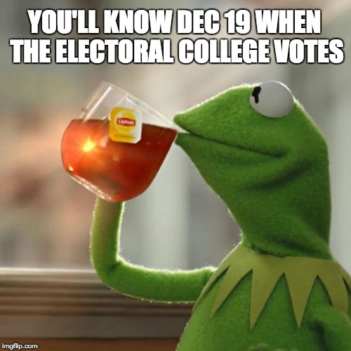But Thats None Of My Business Meme | YOU'LL KNOW DEC 19 WHEN THE ELECTORAL COLLEGE VOTES | image tagged in memes,but thats none of my business,kermit the frog | made w/ Imgflip meme maker