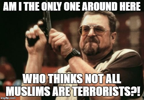 Am I The Only One Around Here |  AM I THE ONLY ONE AROUND HERE; WHO THINKS NOT ALL MUSLIMS ARE TERRORISTS?! | image tagged in memes,am i the only one around here | made w/ Imgflip meme maker