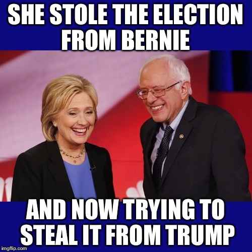 There is absolutely nothing below this power greedy woman's dignity!! |  SHE STOLE THE ELECTION FROM BERNIE; AND NOW TRYING TO STEAL IT FROM TRUMP | image tagged in hillary clinton  bernie sanders,recount,trump,election 2016,corrupt | made w/ Imgflip meme maker