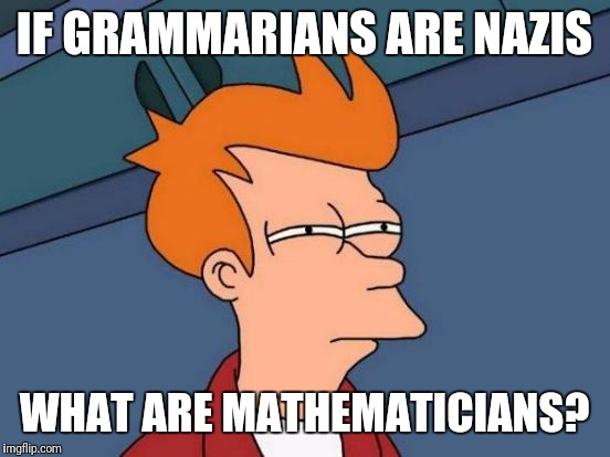 Futurama Fry Meme | IF GRAMMARIANS ARE NAZIS WHAT ARE MATHEMATICIANS? | image tagged in memes,futurama fry | made w/ Imgflip meme maker