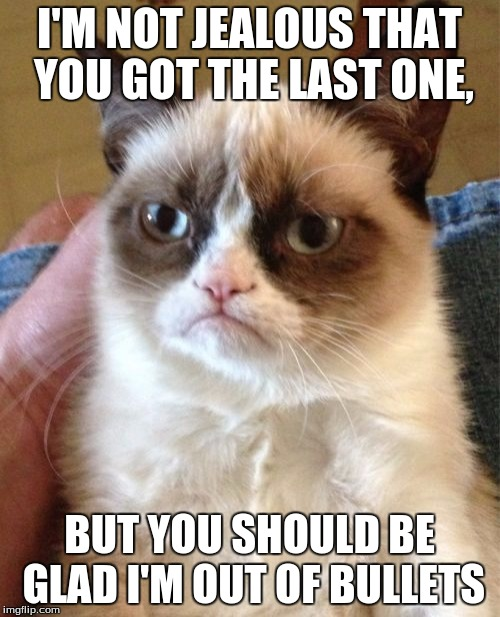 Grumpy Cat Meme | I'M NOT JEALOUS THAT YOU GOT THE LAST ONE, BUT YOU SHOULD BE GLAD I'M OUT OF BULLETS | image tagged in memes,grumpy cat | made w/ Imgflip meme maker