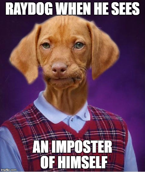 Bad Luck Raydog | RAYDOG WHEN HE SEES AN IMPOSTER OF HIMSELF | image tagged in bad luck raydog | made w/ Imgflip meme maker