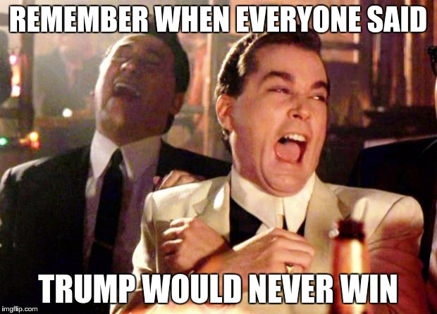 Goodfellas Laugh | REMEMBER WHEN EVERYONE SAID TRUMP WOULD NEVER WIN | image tagged in goodfellas laugh | made w/ Imgflip meme maker