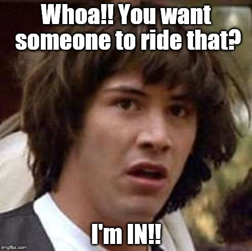 Conspiracy Keanu Meme | Whoa!! You want someone to ride that? I'm IN!! | image tagged in memes,conspiracy keanu | made w/ Imgflip meme maker