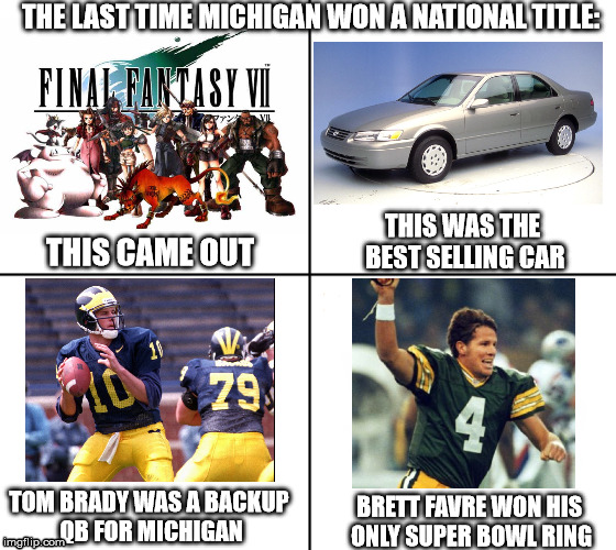 The Last Time Michigan Won A National Title (1997), These events happened. | THE LAST TIME MICHIGAN WON A NATIONAL TITLE: TOM BRADY WAS A BACKUP QB FOR MICHIGAN BRETT FAVRE WON HIS ONLY SUPER BOWL RING THIS CAME OUT T | image tagged in michigan wolverines,1997,michigan 1997 national title season,final fantasy vii | made w/ Imgflip meme maker