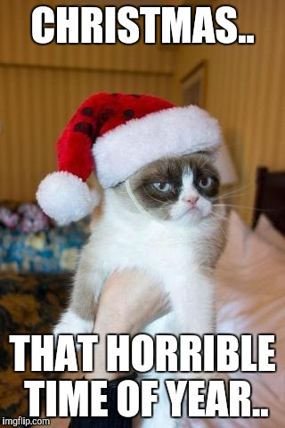 Grumpy Cat Christmas | CHRISTMAS.. THAT HORRIBLE TIME OF YEAR.. | image tagged in memes,grumpy cat christmas,grumpy cat | made w/ Imgflip meme maker