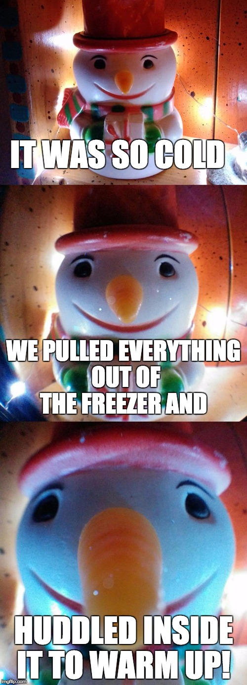 It was so cold... freezer | IT WAS SO COLD HUDDLED INSIDE IT TO WARM UP! WE PULLED EVERYTHING OUT OF THE FREEZER AND | image tagged in snow joke,freezer,huddle,letsgetwordy,warmup,cold | made w/ Imgflip meme maker