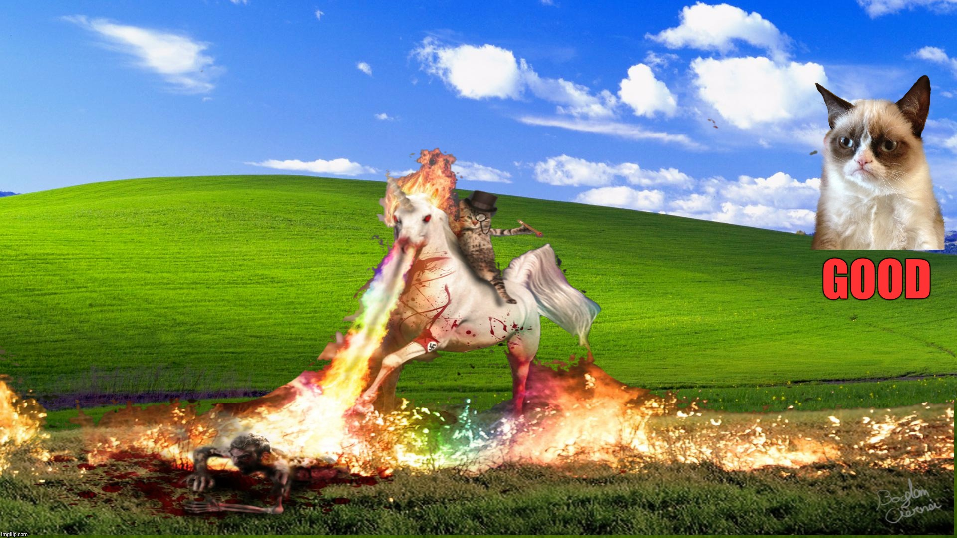 Microsoft has hired Grumpy Cat and his team to retire all remaining XP users | GOOD | image tagged in memes,grumpy cat,cat riding unicorn,microsoft,you should have upgraded when you had the chance | made w/ Imgflip meme maker