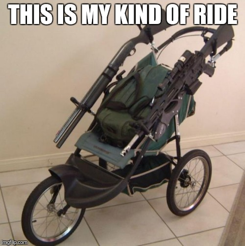 Baby stroller guns | THIS IS MY KIND OF RIDE | image tagged in baby stroller guns | made w/ Imgflip meme maker