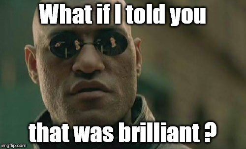 Matrix Morpheus Meme | What if I told you that was brilliant ? | image tagged in memes,matrix morpheus | made w/ Imgflip meme maker