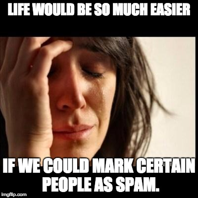 Sad girl meme | LIFE WOULD BE SO MUCH EASIER IF WE COULD MARK CERTAIN PEOPLE AS SPAM. | image tagged in sad girl meme | made w/ Imgflip meme maker