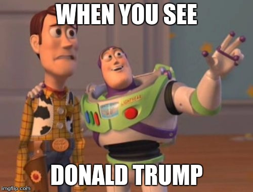 X, X Everywhere Meme | WHEN YOU SEE DONALD TRUMP | image tagged in memes,x x everywhere | made w/ Imgflip meme maker