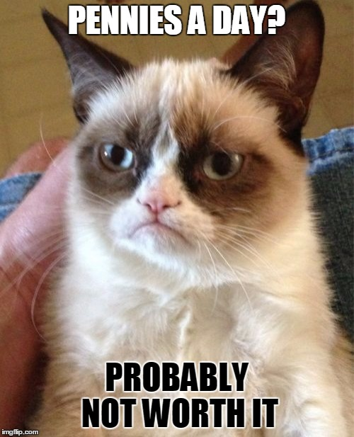 Grumpy Cat Meme | PENNIES A DAY? PROBABLY NOT WORTH IT | image tagged in memes,grumpy cat | made w/ Imgflip meme maker
