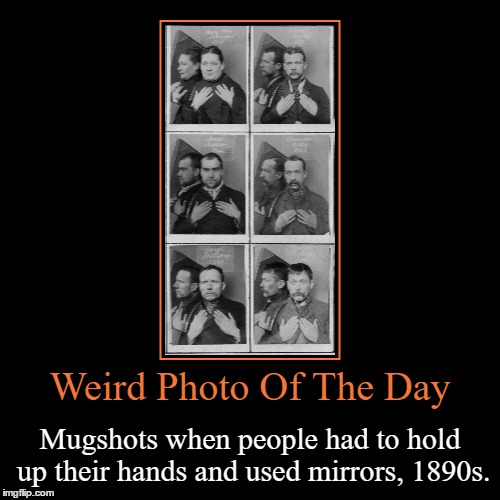 I Feel Like This Is Kind Of Degrading... | Weird Photo Of The Day | Mugshots when people had to hold up their hands and used mirrors, 1890s. | image tagged in funny,demotivationals,weird,photo of the day,mugshot,mirrors | made w/ Imgflip demotivational maker