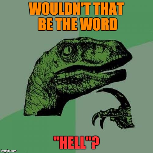 "Philosoraptor Meme | WOULDN'T THAT BE THE WORD ""HELL""? 