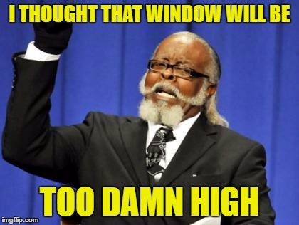 Too Damn High Meme | I THOUGHT THAT WINDOW WILL BE TOO DAMN HIGH | image tagged in memes,too damn high | made w/ Imgflip meme maker