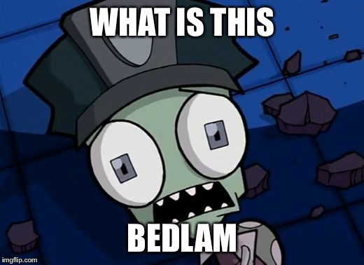 Shocked Zim | WHAT IS THIS BEDLAM | image tagged in shocked zim | made w/ Imgflip meme maker