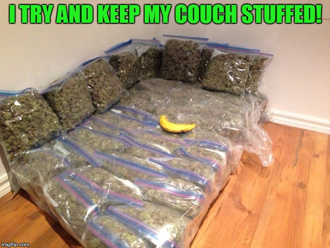 I TRY AND KEEP MY COUCH STUFFED! | image tagged in kushion | made w/ Imgflip meme maker